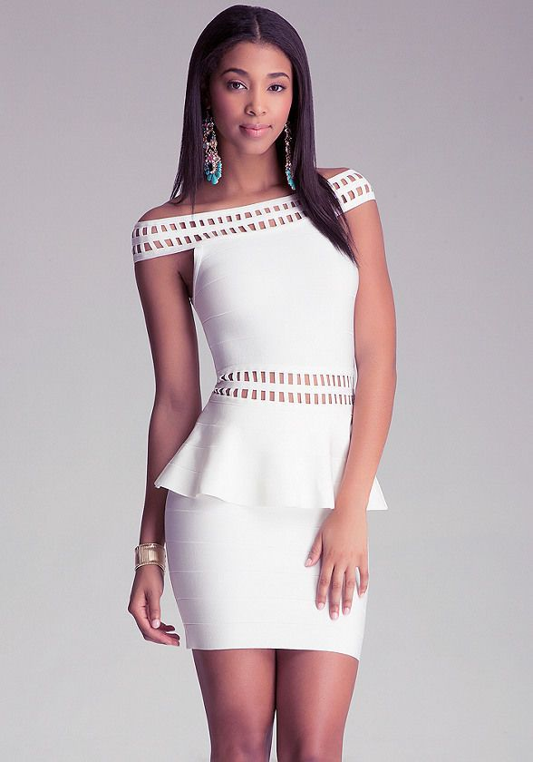 White Peplum Short Dress