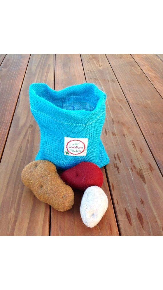 Felt Potatoes in a little Burlap Potato Sack by LittleFruits