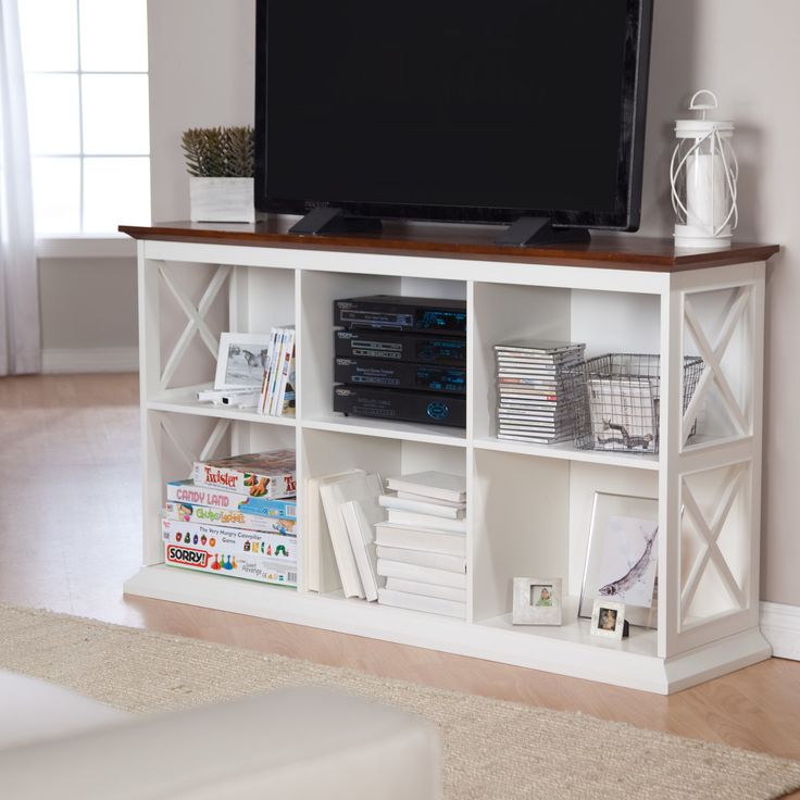 The Hampton TV Console – White/Oak I am looking for a new entertainment center and this is quite nice.