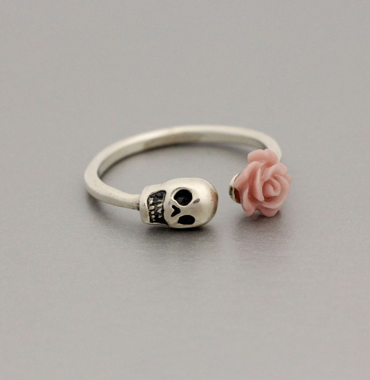 Adjustable Flowered Skull Ring in 925 Sterling by ModsTheMost, $32.00