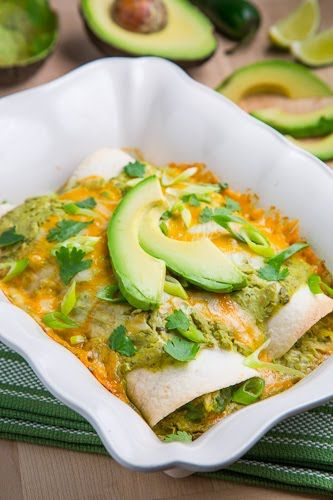 Chicken and avocado enchiladas in a creamy and spicy avocado sauce.  Servings: makes 4 servings  Prep Time: 10 minutes Cook Time: 20 minutes Total Time: 30 minutes