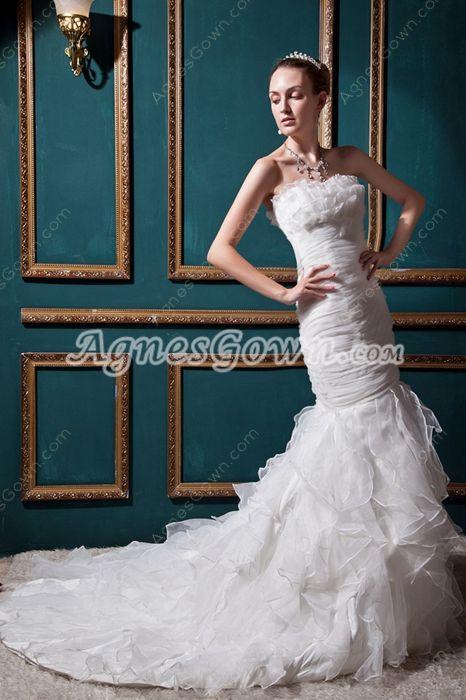 Breathtaking White Organza Mermaid/Fishtail Wedding Dress With Ruffles