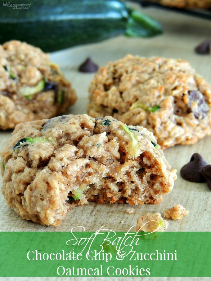 Soft Batch Chocolate Chip & Zucchini Oatmeal Cookies