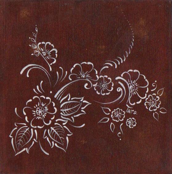 Tableau dessin inspiration ethnique henné paisley - brun chocolat -fête des mères : Peintures par tara-bleiz