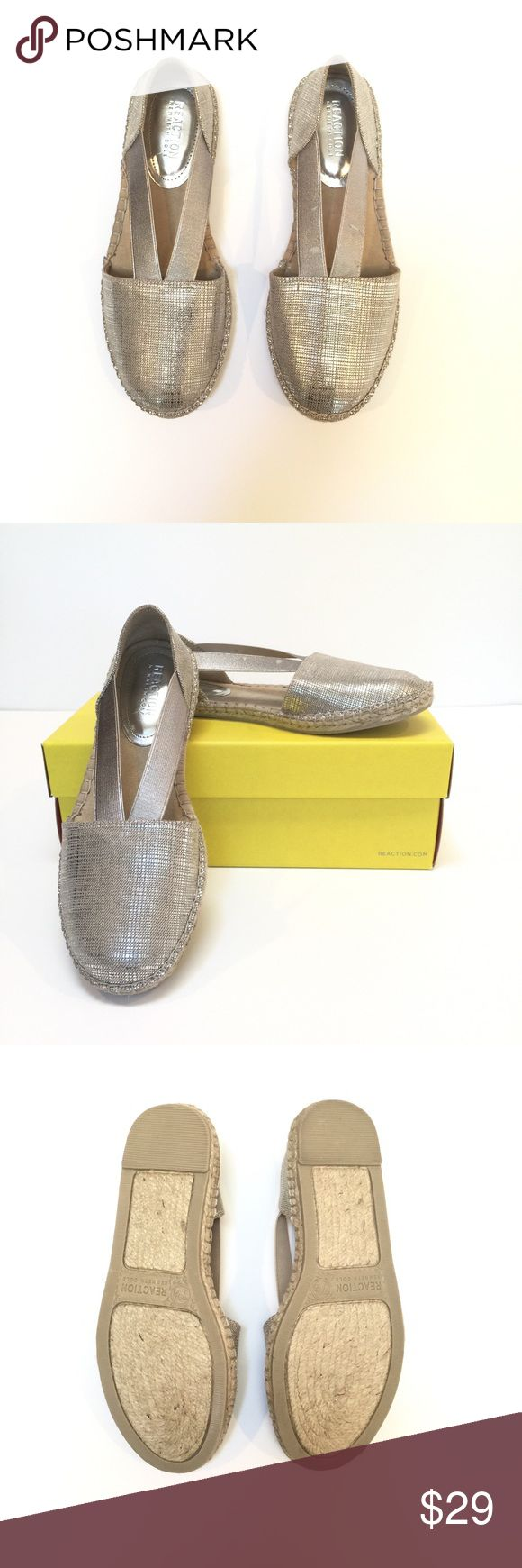 Kenneth Cole silver espadrille sandals. New, 7.5 Kenneth Cole Reaction silver espadrille sandals. New in box. Size 7.5. Textile material. Summer is here! Kenneth Cole Reaction Shoes Sandals