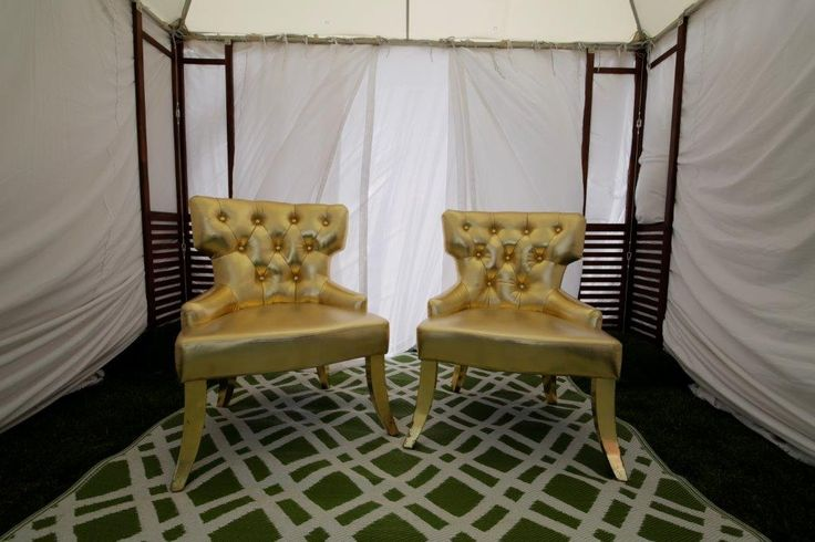 pamper room, gold metallic chair, white chiffon, marquee, nails, manicure