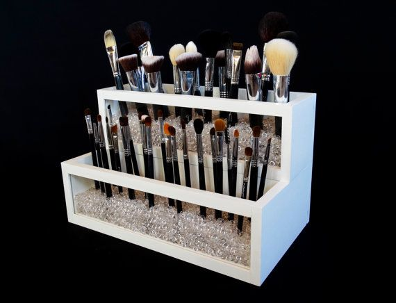 2 Tier Wood and Acrylic Makeup Brush Holder - Makeup Brush Holder - Makeup…                                                                                                                                                                                 More
