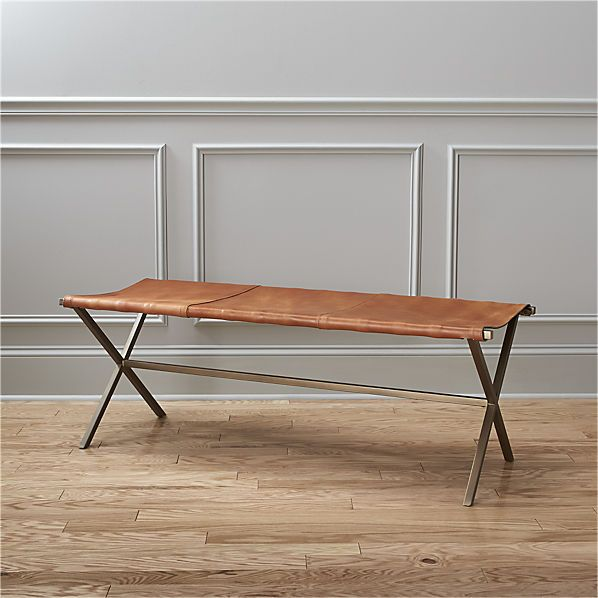 leather director's bench  | CB2 $449, to be placed under living room painting