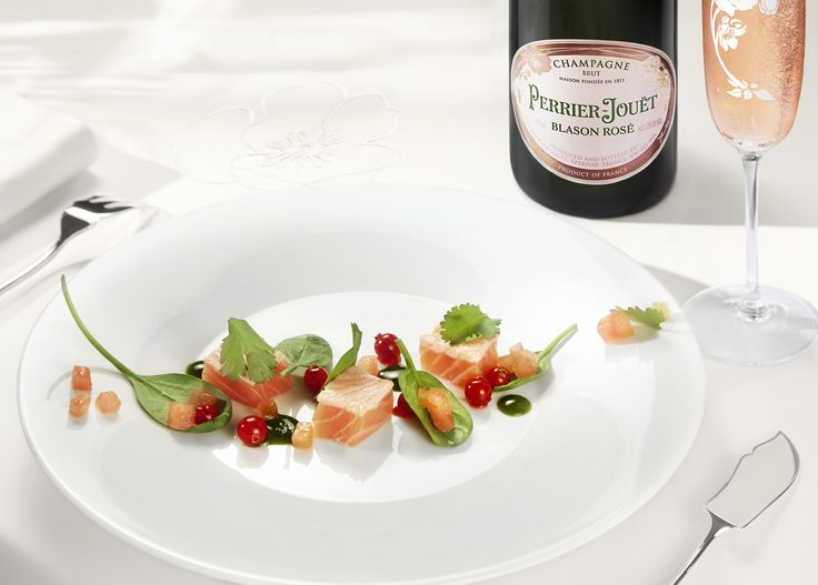 Enchant your fall dinner fête by pairing Perrier-Jouët Blason Rosé with the freshness of herbed cru-cuit salmon bites in green sauce with crisp redcurrants. #perrierjouet Please Drink Responsibly