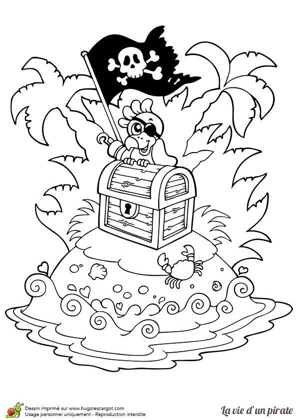 Dessin à colorier d'un perroquet et de son coffre aux trésors sur une île déserte