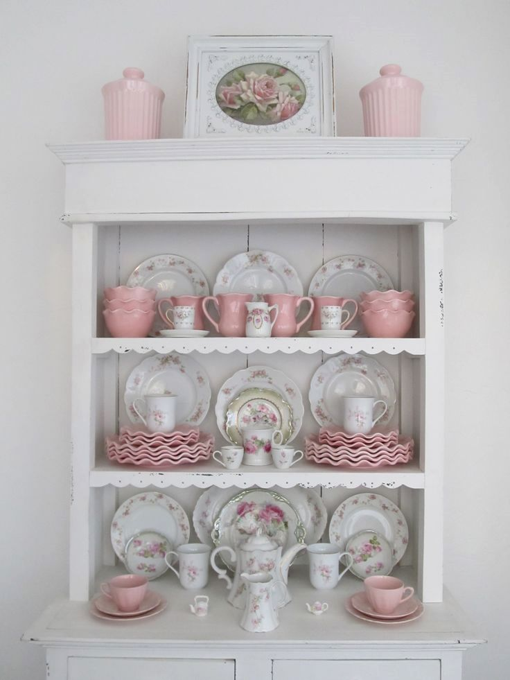 Shabby chic hutch in pink & white