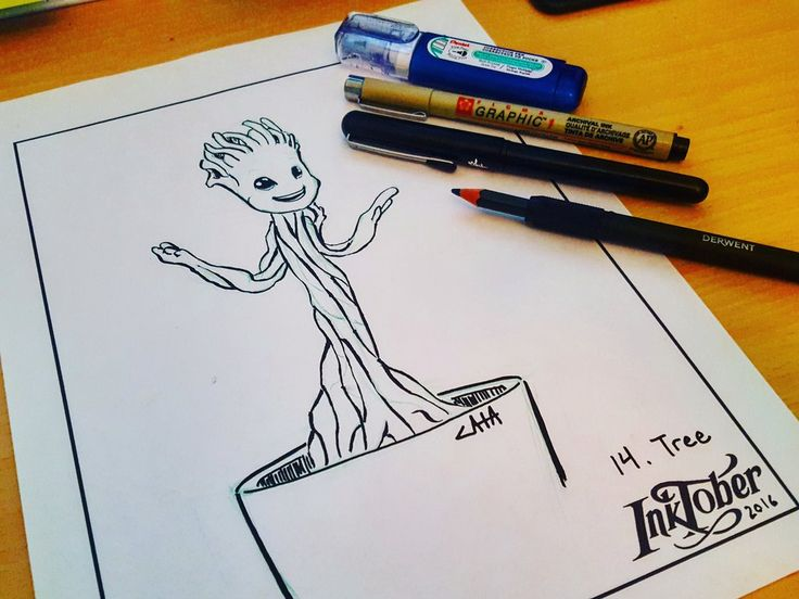 #inktober Day 14: Tree, by CatasCreations on DeviantArt. The Guardians of the Galaxy, Groot. #fanart