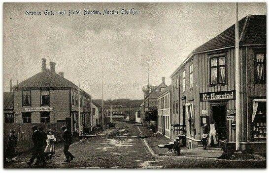 Steinkjer Grønne gate Hotel Norden butikk Kr. Hegstad folkeliv tidlig 1900 -tall