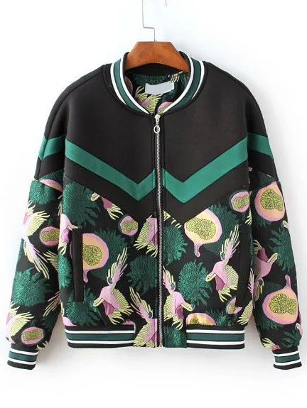 Multicolor Printed Striped Trim Bomber Jacket — 0.00 € ----------color: Multi Color size: L,M