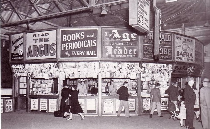 Old News Stand - Flinders St station 1960s