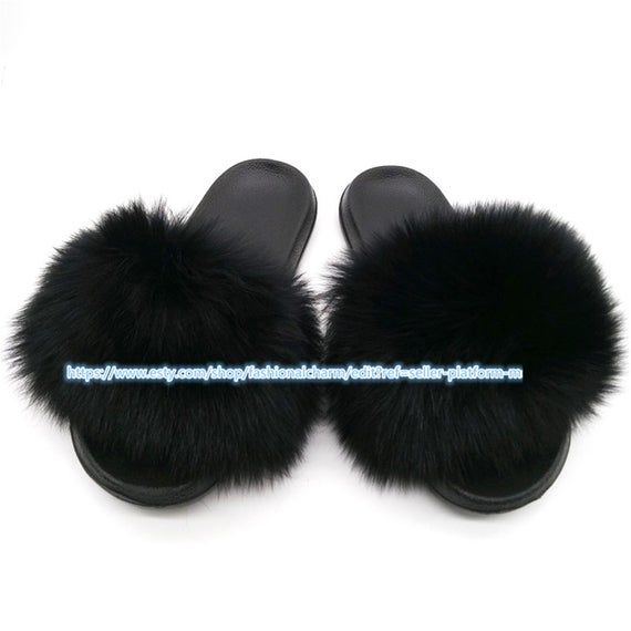 Black Womens Real Fox Fur Slides Summer Slippers Flat Beach Sandals Holiday Shoes W pvc Sole