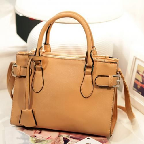 Faux Leather Buckle Strap Zipper Closure Handbag
