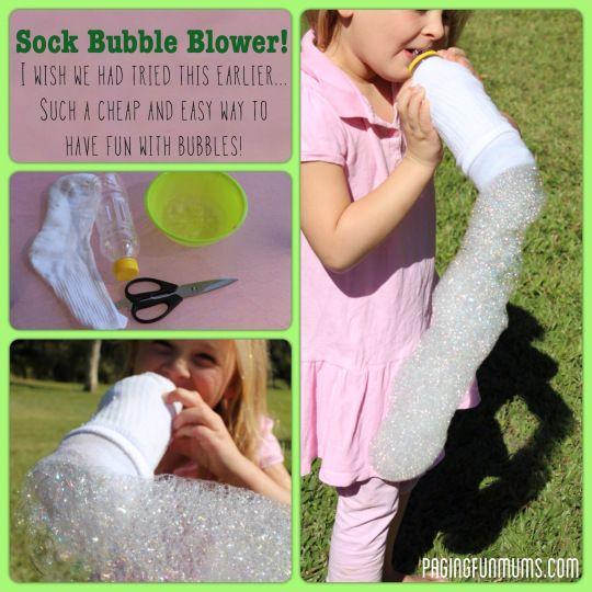 Souffleuse à bulle fabriqué avec une chaussette et une bouteille
