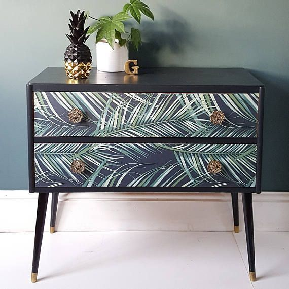 SOLD – Upcycled Mid Century Tropical Botanical Palm Print Pair of Drawers Sideboard