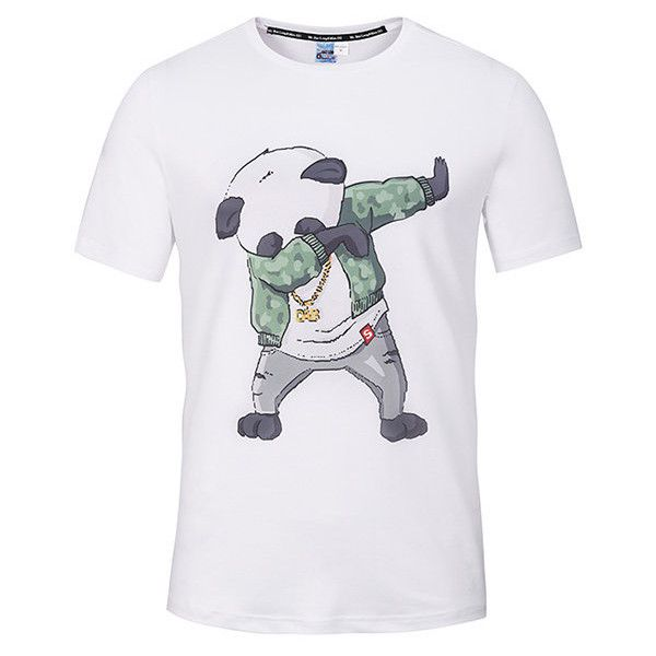 s Breathable Casual Tee Top 3D Panda Printed Round Neck Short Sleeve... ($14) ❤ liked on Polyvore featuring men's fashion, men's clothing, men's shirts, men's t-shirts, shirts, white, men's regular fit shirts, mens print shirts, mens long sleeve summer shirts and mens short sleeve t shirts