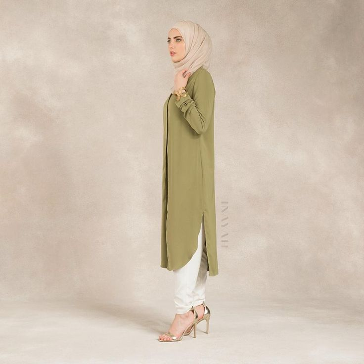 INAYAH | Long Olive Tailored Shirt #Dress + Cream Silk Crepe #Hijab + White #Trousers www.inayahcollection.com
