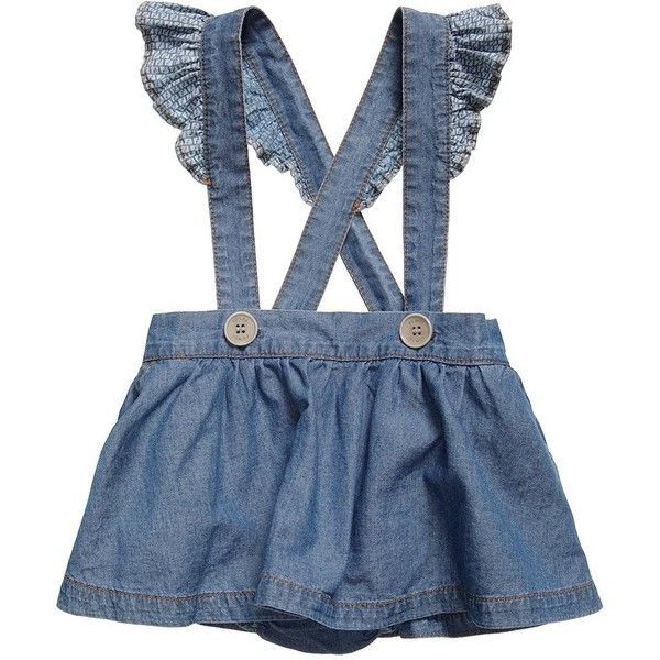 Baby Girls Denim Skirt with Braces (585 ILS) ❤ liked on Polyvore featuring baby clothes and baby girl