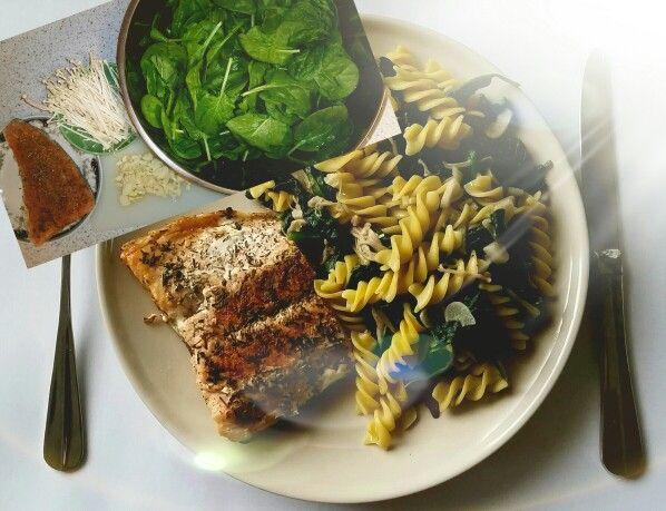 salmon, corn pasta, spinach, enoki mushrooms, garlic, coconut oil, provencal herbs, hot peppers