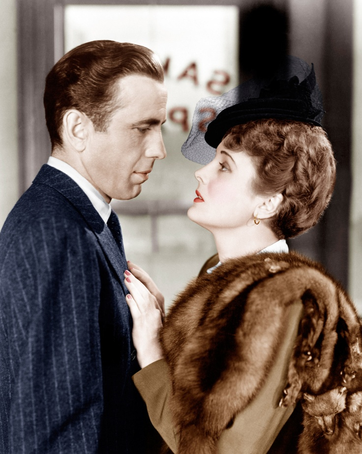 "Mary Astor and Humphrey Bogart in ""The Maltese Falcon"" (colored still - 1941)"