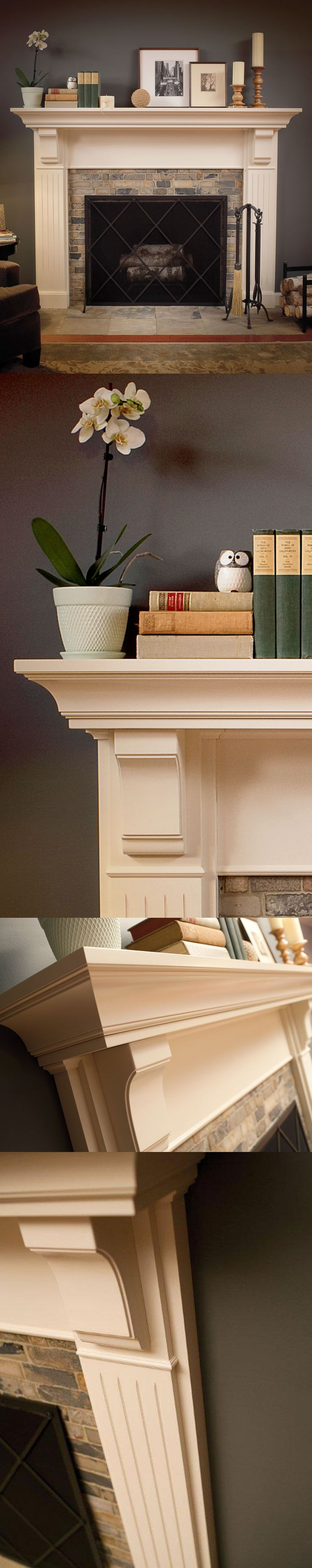 a timeless appeal carved corbels and optional fluted columns are defining elements for this white fireplace - Fireplace Surround Ideas