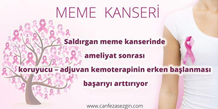 Saldırgan meme kanserinde ameliyat sonrası koruyucu – adjuvan kemoterapinin erken başlanması başarıyı arttırıyor Meme kanseri kadınlarda sık görülmesi nedeni ile önemli bir sağlık sorunudur. Meme kanserinin çok farklı tipleri olup her birinin tedavisi farklılık gösterir.