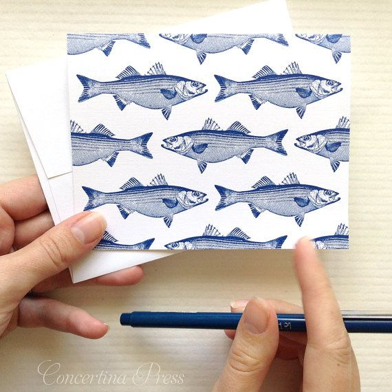 Striped Bass Notecards nautical gift blank note by ConcertinaPress