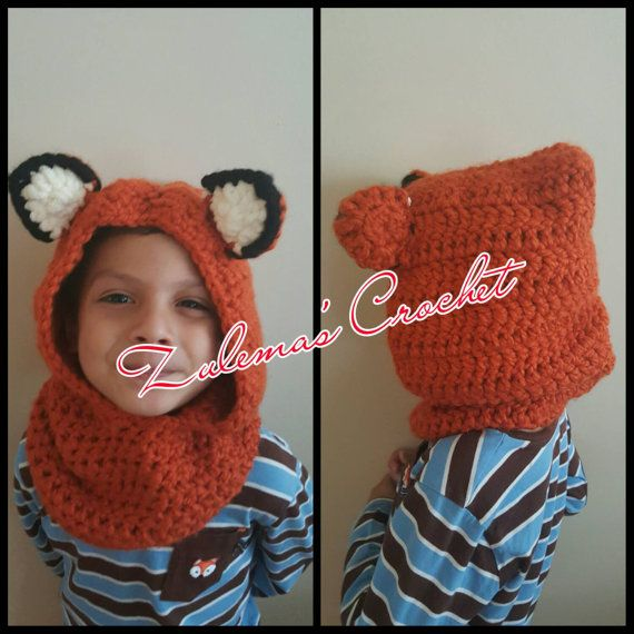 Crochet Hooded Cowl Bear Hooded Cowl Kids Hooded by ZulemasCrochet