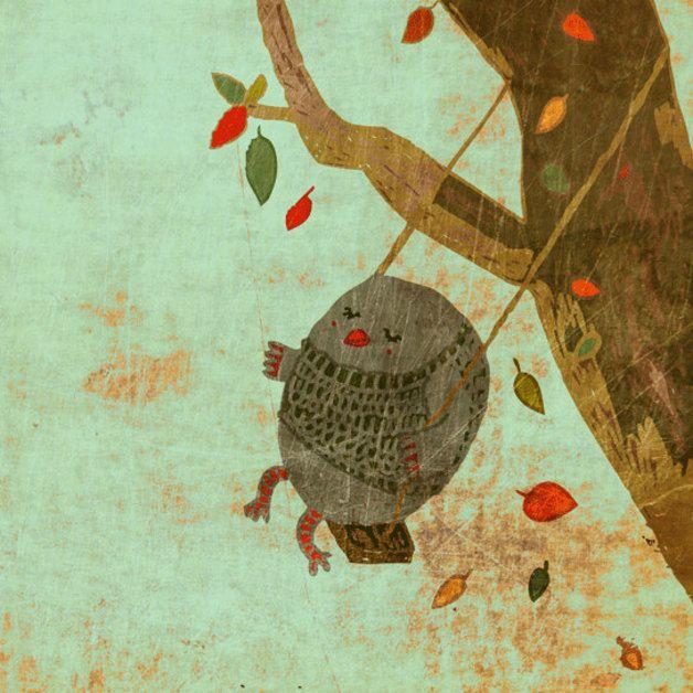 autumn in DaWanda Wall Art – Autumn swing print – a unique product by Schall-Eszter on DaWanda