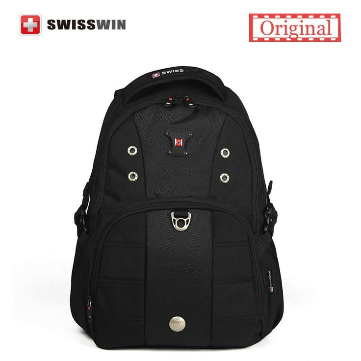 Original Swisswin Unisex Waterproof 15'' Laptop Backpack Black School Business Bag