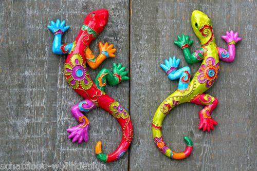 2er set eidechse gecko wandobjekt wandhaenger wandschmuck wanddeko kunstharz garten - Gecko wanddeko ...