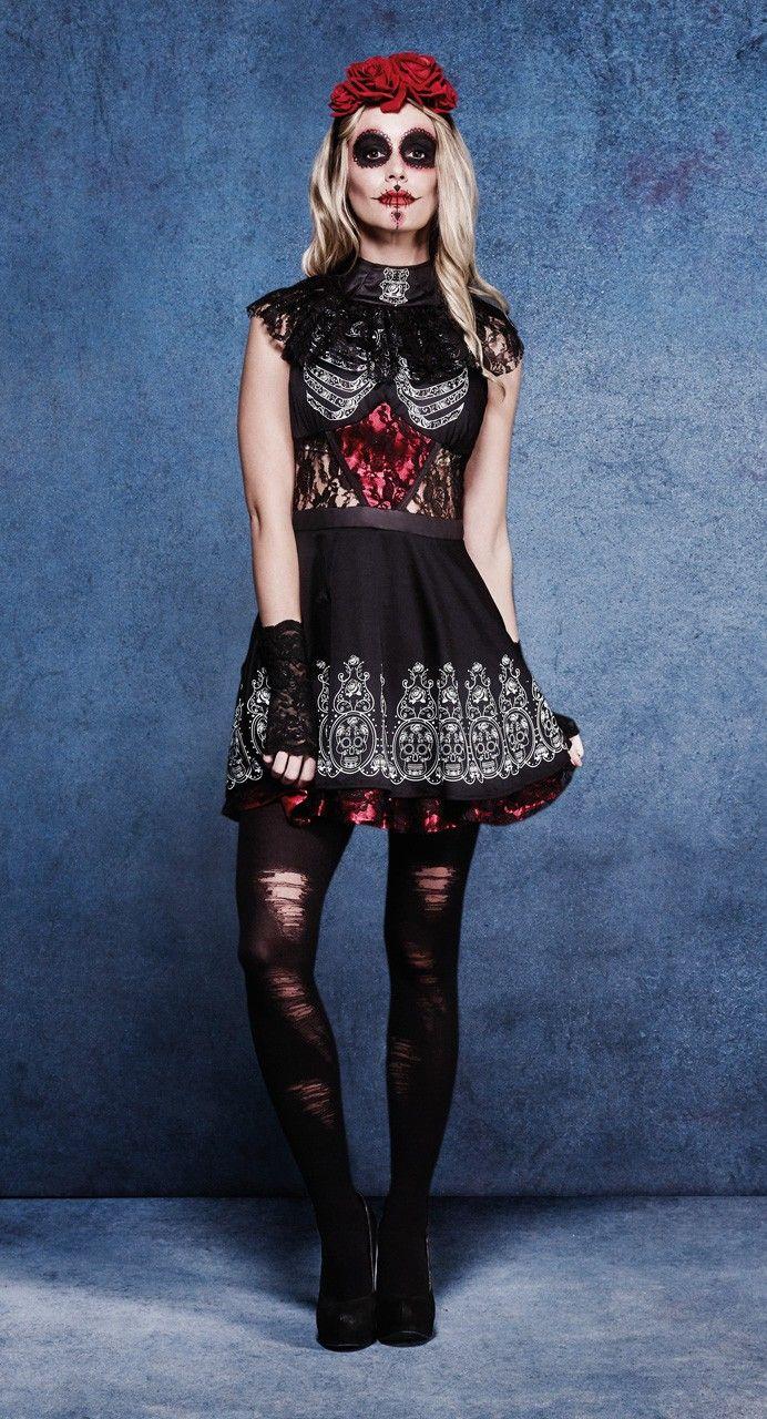 Vestido Catrina para mujer. Halloween Costume Woman Dress. #DisfracesOriginales #Disfrazmujer #Katrin #Halloween #Disfraces
