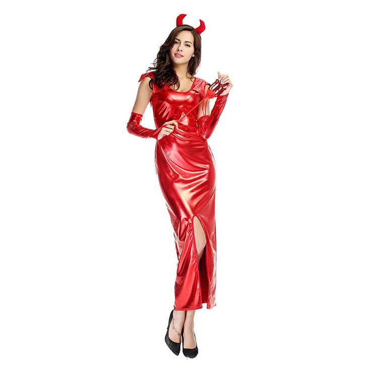 Halloween Stage With Red Demon Fitted Patent Leather Skirt COS Animation Role-playing  #Affiliate