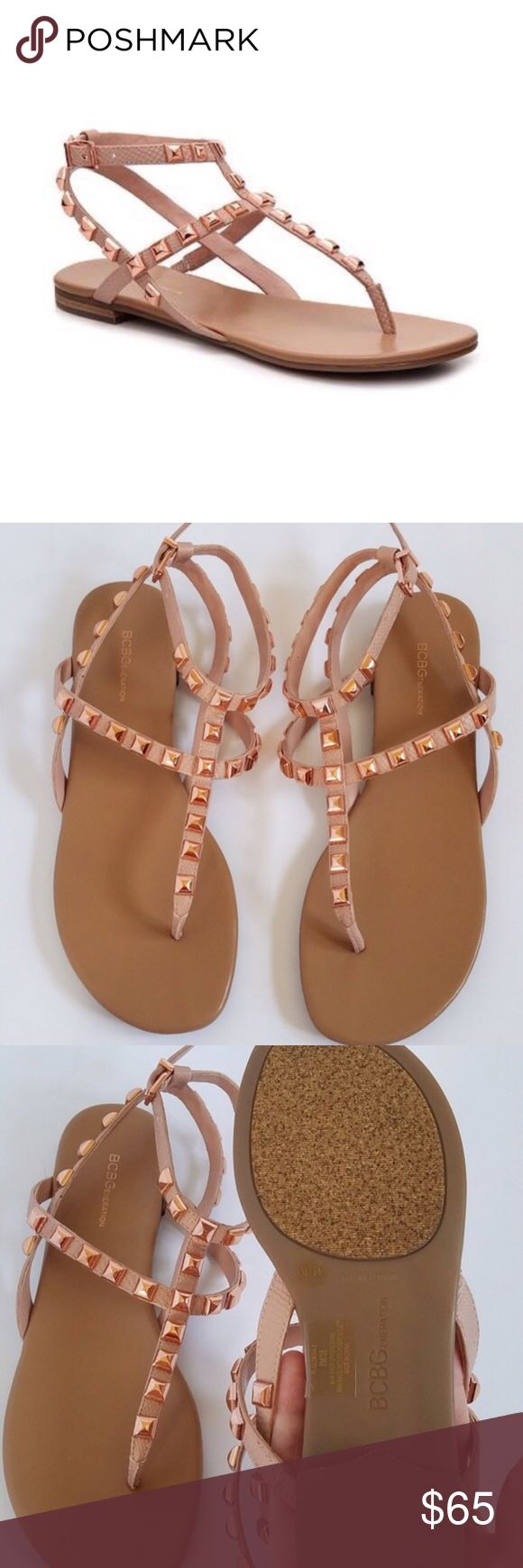 BCBGeneration Rose Gold Studded Sandals NWOB. Display shoe, no box. BCBGeneration Rose Gold studded sandal. Size 8. No rips, tears, stains. No Trades! All Reasonable Offers Accepted! BCBGeneration Shoes Sandals