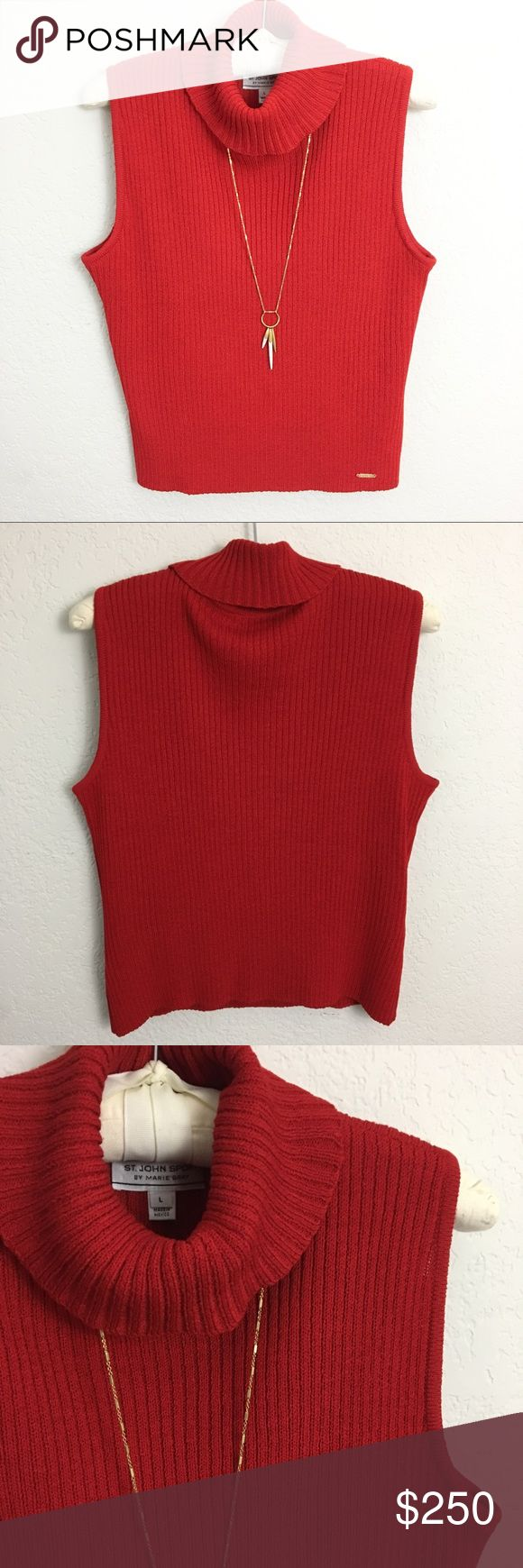 St. John Sport Ribbed Sleeveless Turtleneck Top St. John Sport Ribbed Sleeveless Turtleneck Top. EUC! Soft. Signature gold label at hip. Wool Blend. 👗Fab Ab's Closet; Re-Styled Resale 👗 🎀15% Off 3+ Item Bundles🎀 👉🏻Please Use Offer Button👈🏻 ❌NO PP, TRADES, HOLDS❌  🛍Items Always 100% Authentic🛍 ✔️Excellent Pre-Owned Condition✔️ 👑Posh Ambassador👑 St. John Sport by Marie Gray Tops