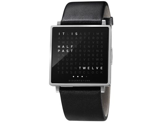 QLOCKTWO W: Time in words. A watch that forces you to read.  A novelty watch that will start a conversation.