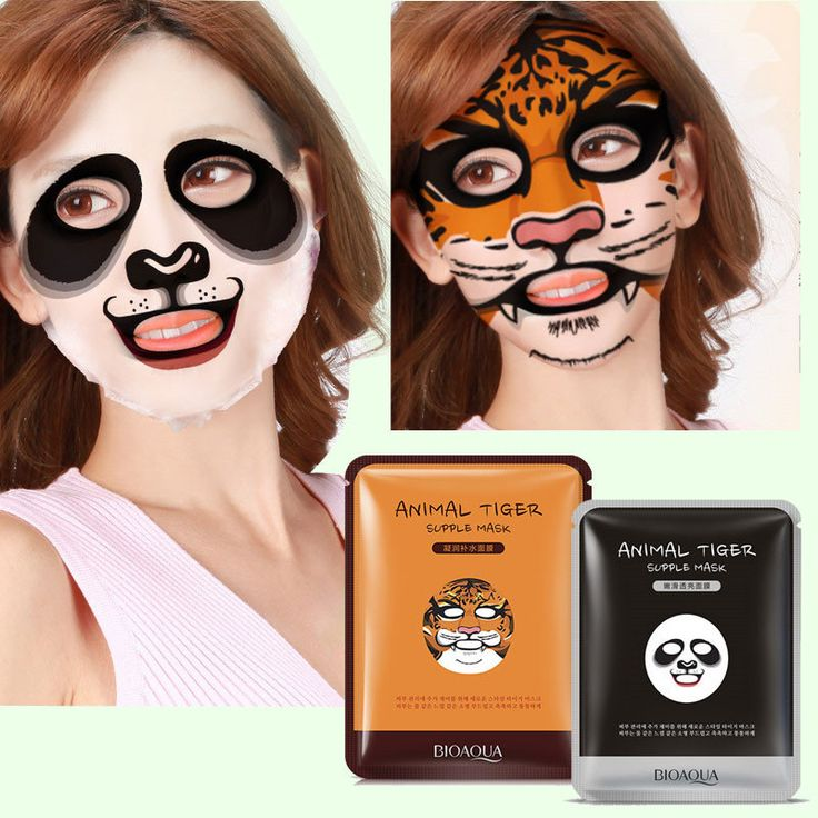 BIOAQUA Cute Animal Face Masks Tiger Facial Mask Skin Care Sheep Panda Dog Moisturizing 1Pc
