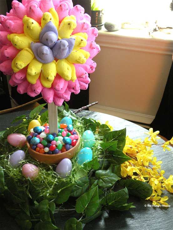 Edible Peeps Topiary - Peeps are on toothpicks not glued down so they are edible :D