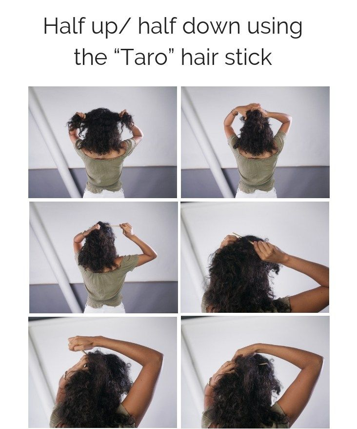 Easy Everyday Curly Hairstyle Tutorials Using A Hair Stick Justdalal Curly Hair Tutorial Curly Hair Styles Hair Tutorial