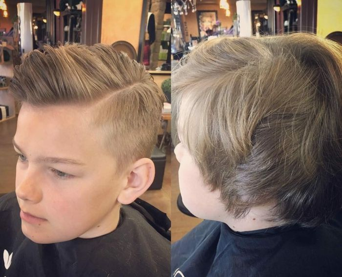 zwei Jungen Frisuren, lange Haare und Undercut, blonde Jungen mit Seitenscheitel