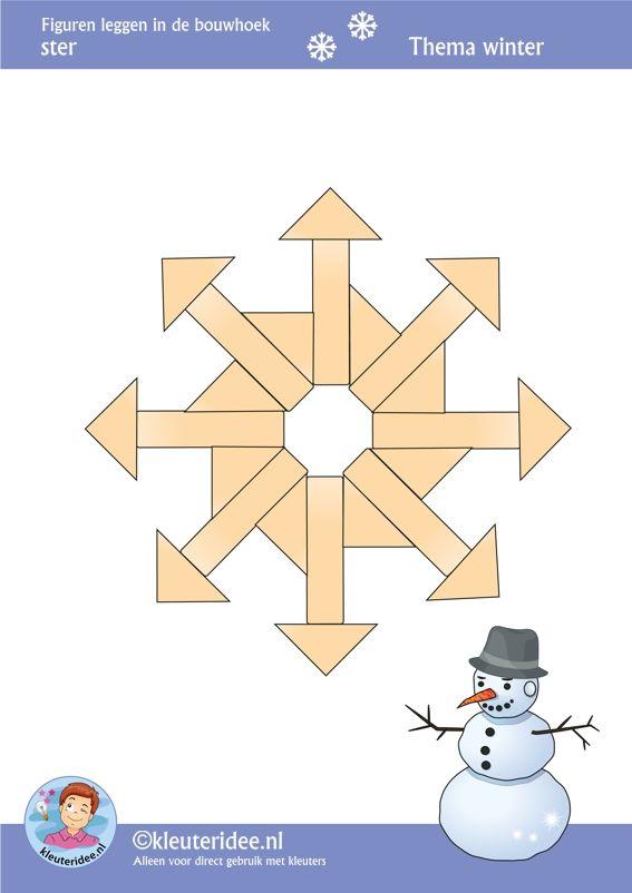 Ster, figuren leggen in de bouwhoek,  thema winter , juf Petra van kleuteridee, Preschool patterns for block area, free printable.
