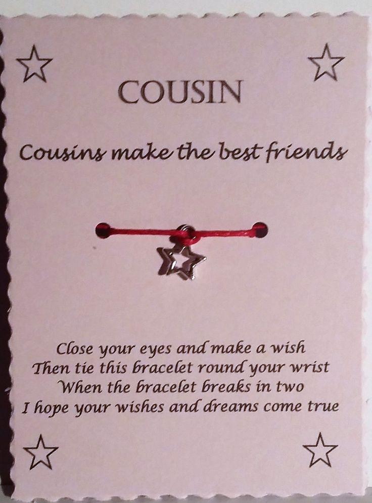 Gift for Cousin, Cousin Gift, Wish Bracelet, Friendship bracelet, Charm bracelet, Cousin Bracelet, Stocking Filler, Christmas gift, bracelet by GemsNJewells on Etsy