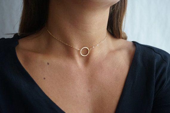 Gold Curb Chain Choker  Metal Circle Choker  by tooposhh on Etsy