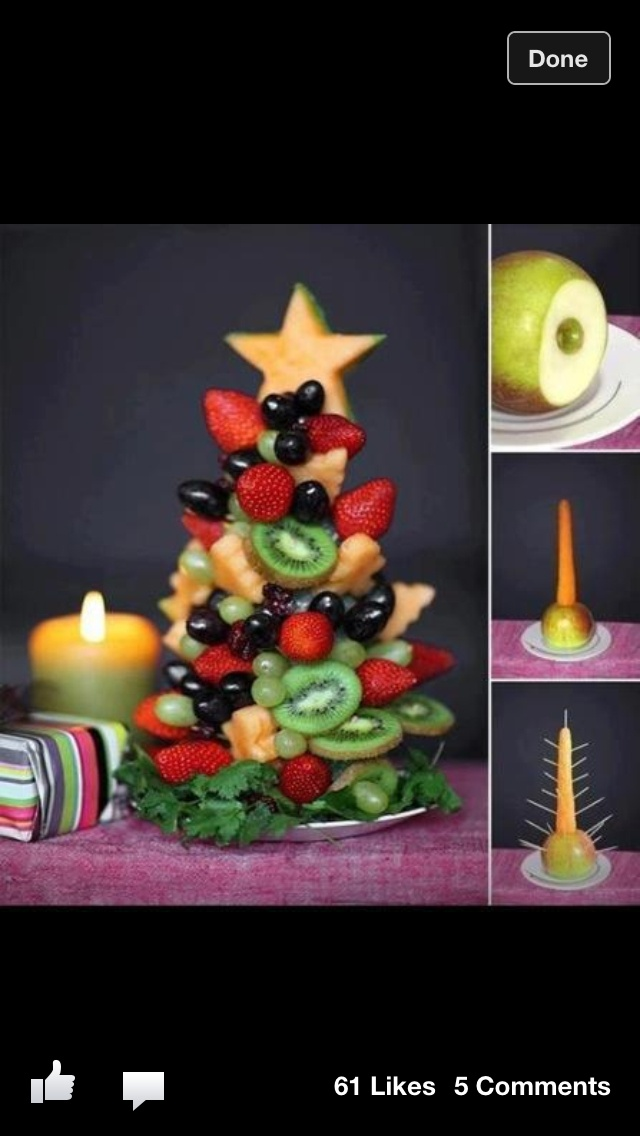 A Christmas Fruit Salad tree! Awesome idea!!!