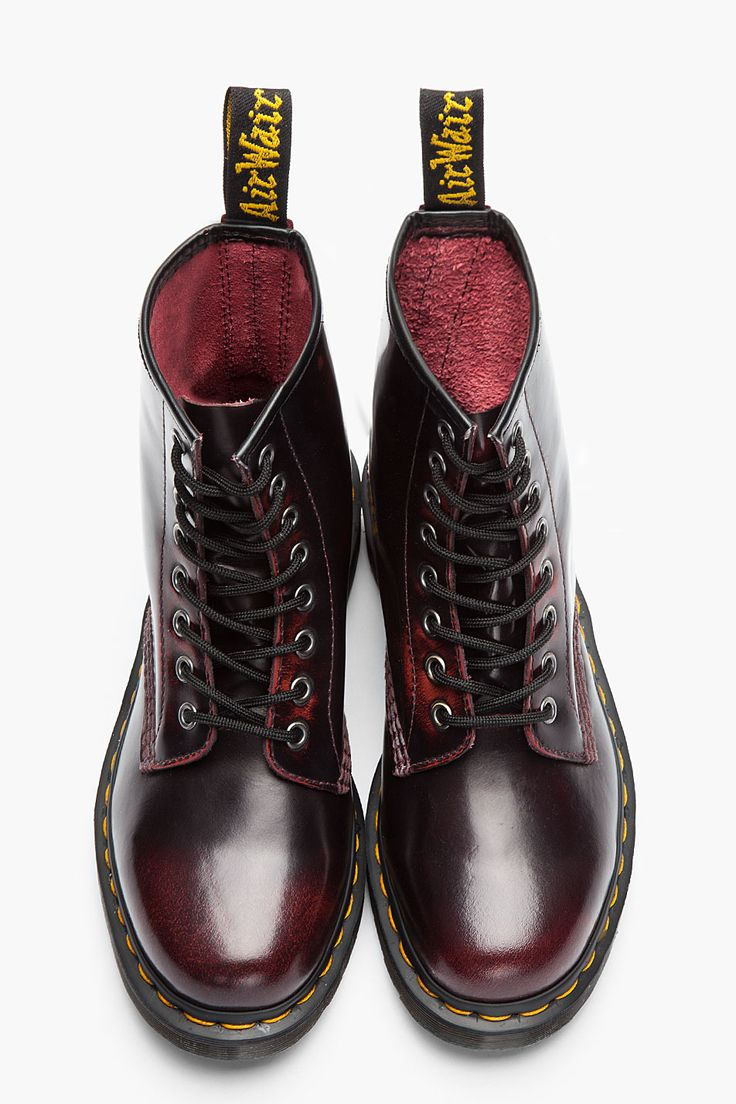 DR. MARTENS //    Burgundy Brushed Leather 1460 8-Eye Boots