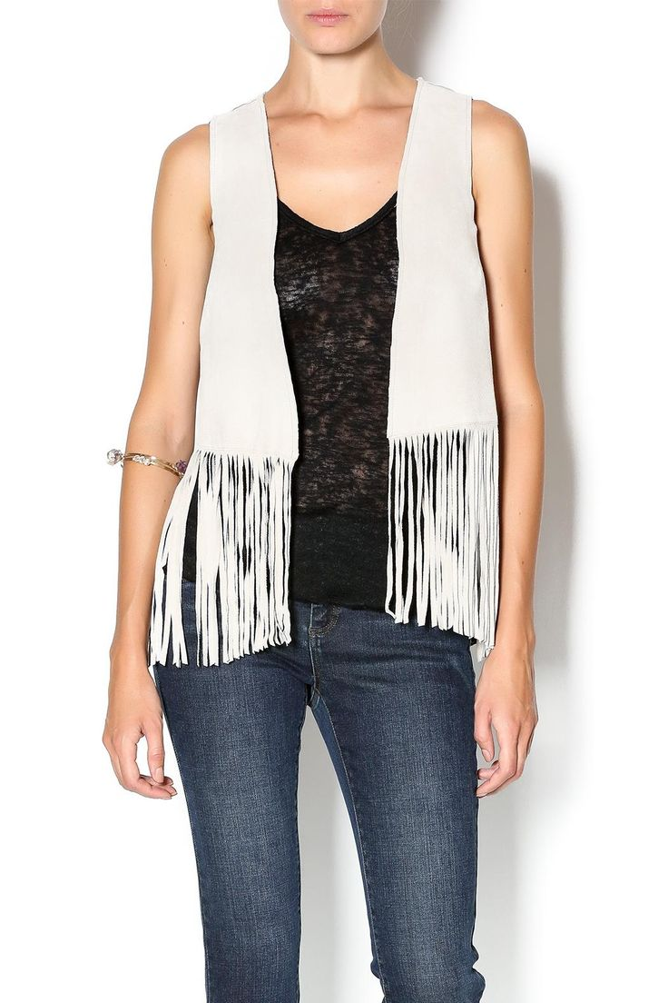 Beautiful suede fringe vest. Cropped in length and will be perfect with jeans and a tee for early fall. Fringe Vest by Tart Clothing. Clothing - Jackets, Coats & Blazers - Vests New York
